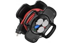 Brennenstuhl Enrouleur de câble X-GUM avec 3 prises à clapets et 2 prises-chargeur USB IP44 10m H07RN-F 3G1,5
