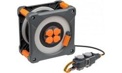 Brennenstuhl professionalLINE Enrouleur de câble 25m+5m avec Powerblock IP44, Fabrication Française